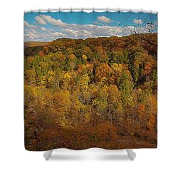 Shower Curtain featuring the photograph Taughannock River Canyon In Colorful Fall Ithaca New York II by Paul Ge