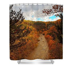 Shower Curtain featuring the painting Taughannock River Canyon In Colorful Fall Ithaca New York IIi by Paul Ge