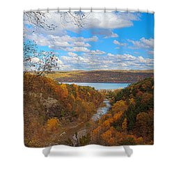 Shower Curtain featuring the painting Taughannock River Canyon In Colorful Fall Ithaca New York Iv by Paul Ge
