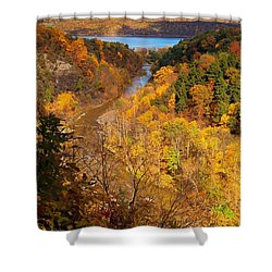 Shower Curtain featuring the photograph Taughannock River Canyon In Colorful Fall Ithaca New York by Paul Ge
