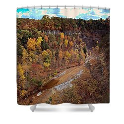 Shower Curtain featuring the painting Taughannock River Canyon In Colorful Fall Ithaca New York V by Paul Ge