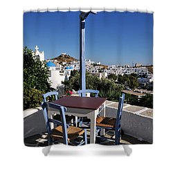 Tavern In Ios Town Shower Curtain