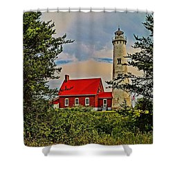 Tawas Point Light Retro Mode Shower Curtain