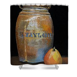 Taylor Jug With Pear Shower Curtain by Catherine Twomey