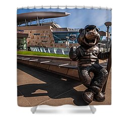 T.c. Statue And Target Field Shower Curtain