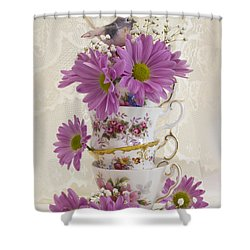 Tea Cups And Daisies  Shower Curtain