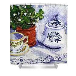 Tea For Nancy Shower Curtain by Barbara McDevitt