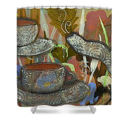 Tea For Three Shower Curtain by Robin Maria Pedrero
