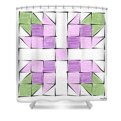 Tea Rose Quilt Block Shower Curtain