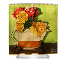 Tea Roses Bordered Shower Curtain