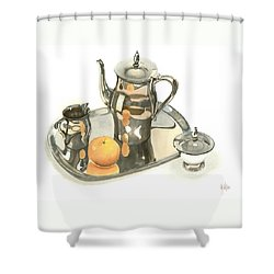 Tea Service With Orange Dramatic Shower Curtain by Kip DeVore