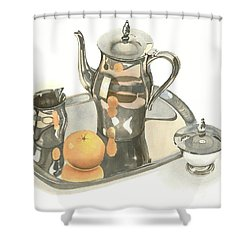Tea Service With Orange Shower Curtain