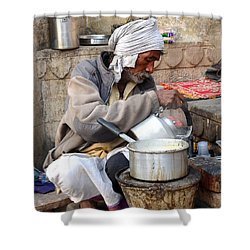 Tea Stall On The Ghats  - Varanasi India Shower Curtain