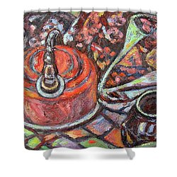 Tea Time Shower Curtain by Kendall Kessler