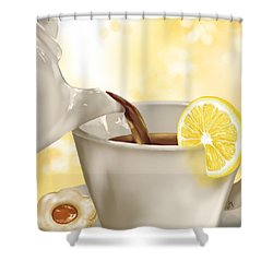 Tea Time Shower Curtain by Veronica Minozzi