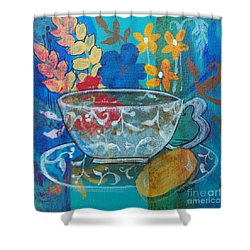 Shower Curtain featuring the painting Tea With Biscuit by Robin Maria Pedrero