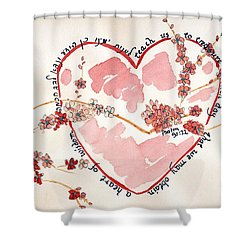 Shower Curtain featuring the painting Teach Us - White by Linda Feinberg