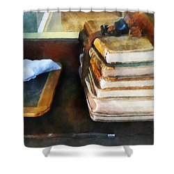 Teacher - Old School Books And Slate Shower Curtain by Susan Savad