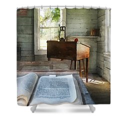 Teacher - One Room Schoolhouse With Book Shower Curtain by Susan Savad