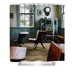 Teacher - One Room Schoolhouse With Clock Shower Curtain