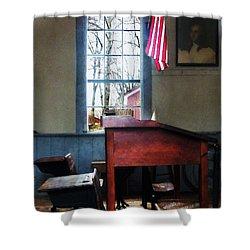 Teacher - Schoolmaster's Desk Shower Curtain by Susan Savad