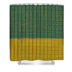 Teal And Mustard Shower Curtain by Michelle Calkins