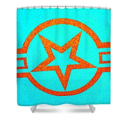 Teal And Rust Fighter Star Shower Curtain by Holly Blunkall