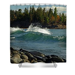 Teal Blue Waves Shower Curtain by Melissa Peterson