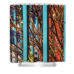 Teal Fence Shower Curtain