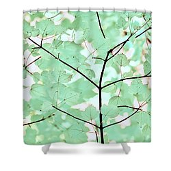 Teal Greens Leaves Melody Shower Curtain by Jennie Marie Schell