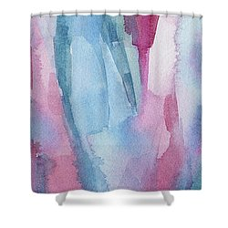 Teal Magenta And Turquoise Abstract Panoramic Painting Shower Curtain