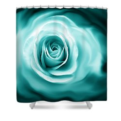 Teal Rose Flower Abstract Shower Curtain