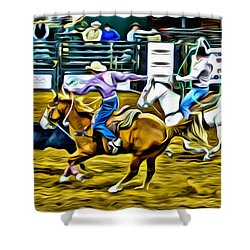 Team Ropers Shower Curtain by Alice Gipson