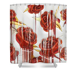 Shower Curtain featuring the digital art Tear-stained Roses by Liane Wright