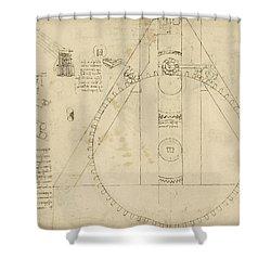 Teaseling Machine From Atlantic Codex Shower Curtain by Leonardo Da Vinci