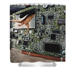 Circuit Board Electronic Art Technobat Abstract Shower Curtain by Ginette Callaway