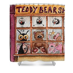 Teddy Bear Shop Shower Curtain by Lucia Stewart