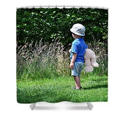 Shower Curtain featuring the photograph Teddy Bear Walk by Keith Armstrong
