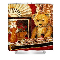 Teddy Bear With Tugboat Doll And Fan Childhood Memories Old Toys And Collectibles Nostalgic Scenes  Shower Curtain by Carole Spandau