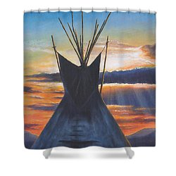 Teepee At Sunset Part 1 Shower Curtain