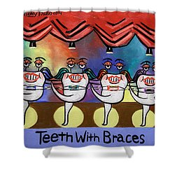 Teeth With Braces Dental Art By Anthony Falbo Shower Curtain