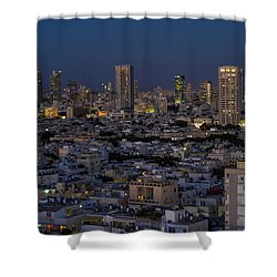 Shower Curtain featuring the photograph Tel Aviv At The Twilight Magic Hour by Ron Shoshani