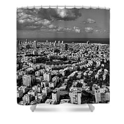 Shower Curtain featuring the photograph Tel Aviv Center Black And White by Ron Shoshani