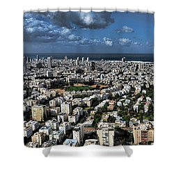 Shower Curtain featuring the photograph Tel Aviv Center by Ron Shoshani