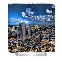 Tel Aviv Center Skyline Shower Curtain by Ron Shoshani