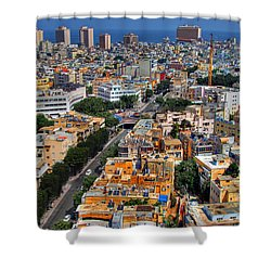 Shower Curtain featuring the photograph Tel Aviv Eagle Eye View by Ron Shoshani