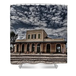 Shower Curtain featuring the photograph Tel Aviv First Railway Station by Ron Shoshani