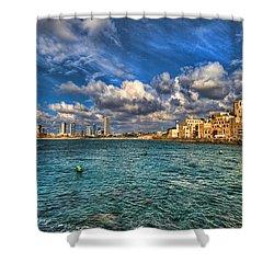 Tel Aviv Jaffa Shoreline Shower Curtain by Ron Shoshani
