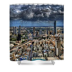 Tel Aviv Love Shower Curtain by Ron Shoshani