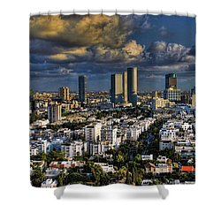 Shower Curtain featuring the photograph Tel Aviv Skyline Fascination by Ron Shoshani